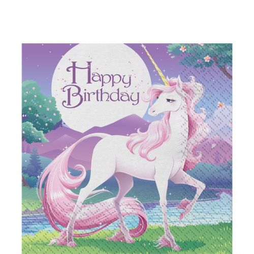 Birthday Party - Unicorn Napkins (Pack of 16)